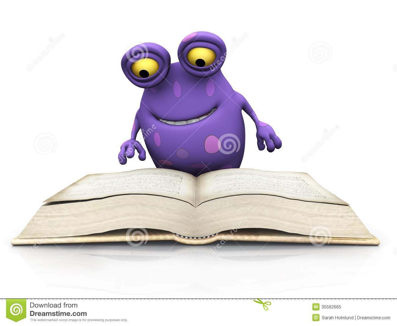 Monster Floor Plans A Spotted Monster Reading A Big Book Royalty Free Stock