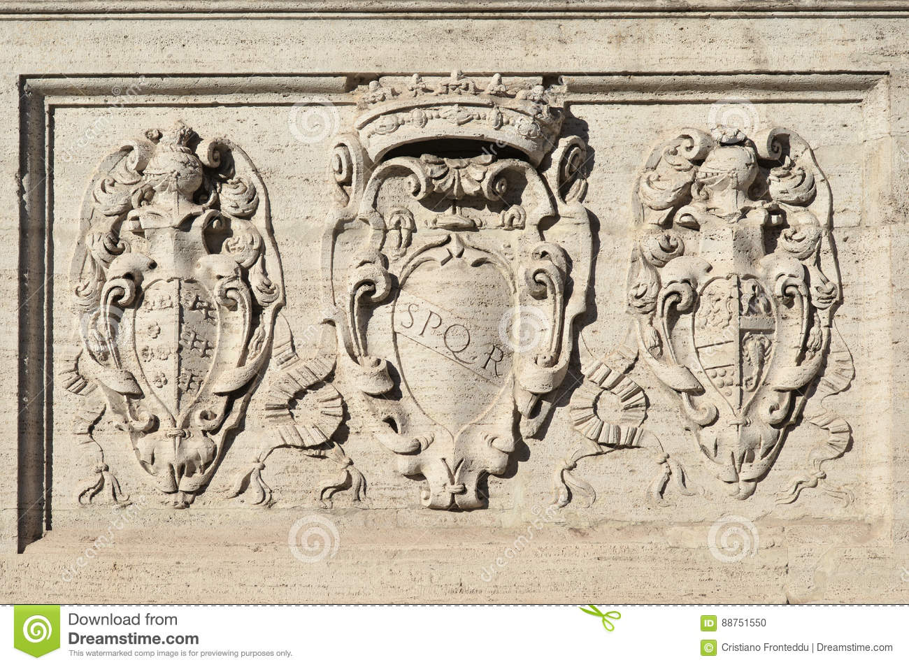 Spqr And Coat Of Arms In Rome Stock Photo Image Of Monument Noble