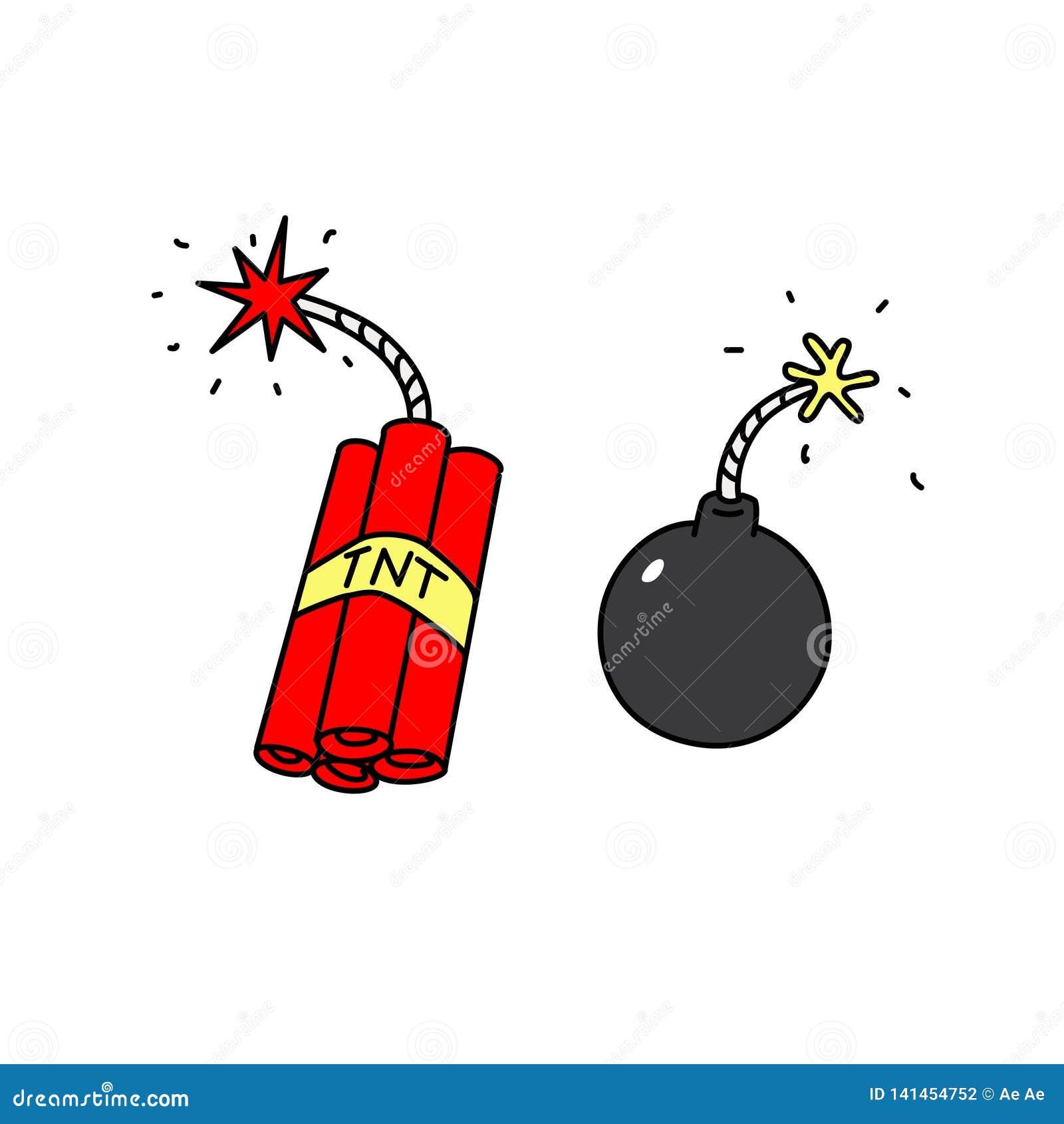 Sprängmedelsymboler vektor Vapen av terrorister Tecknad filmstil bombardera dynamit