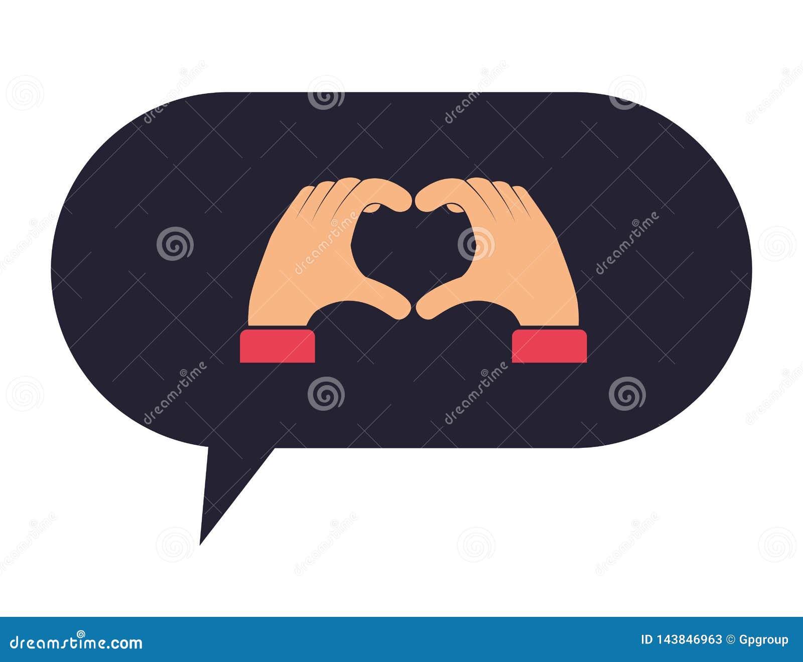 Spracheblase mit den Händen, die Herz nehmen