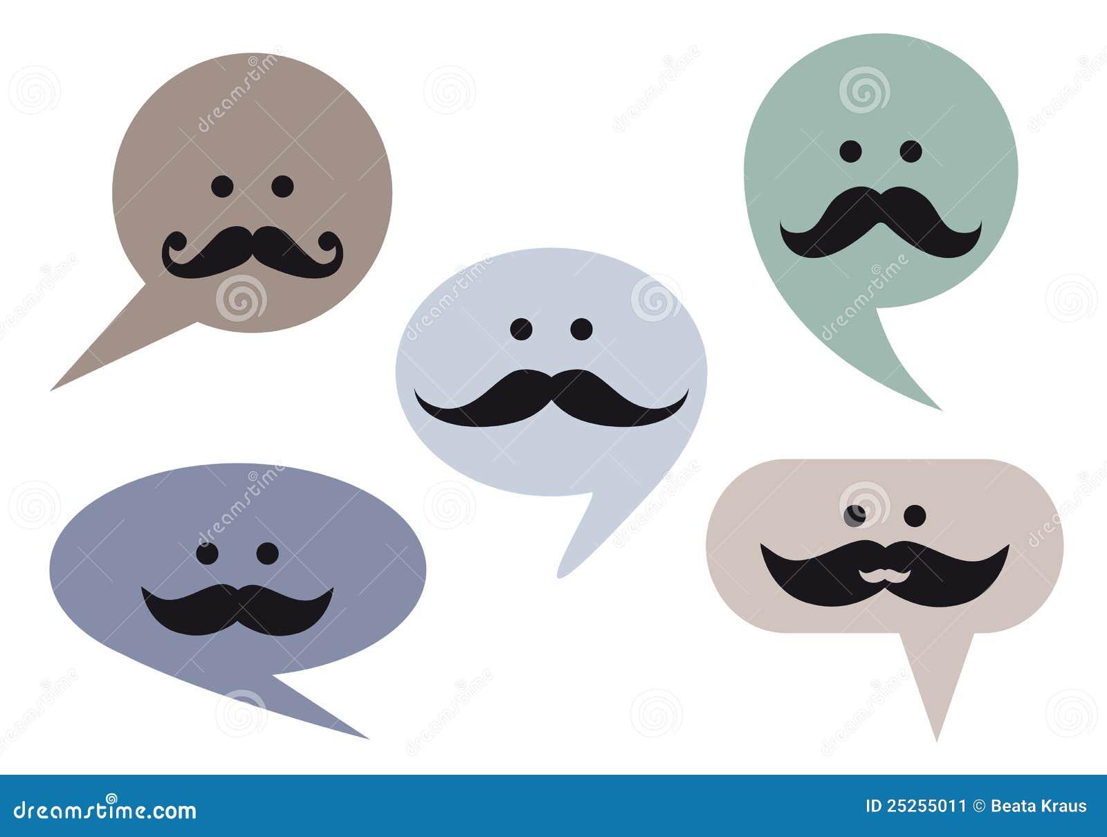 Spracheluftblasengesichter mit dem Schnurrbart, Vektor