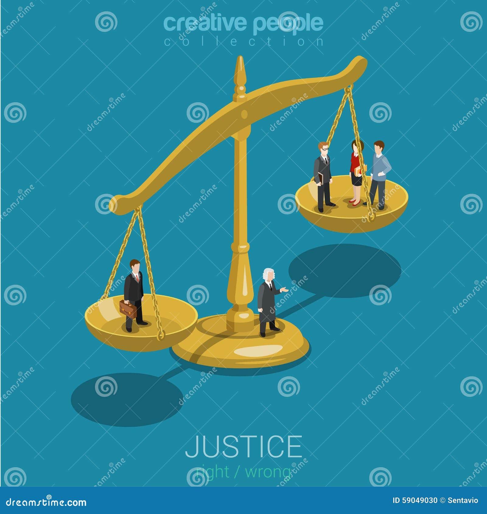 Sprawiedliwość i mieszkania 3d isometric pojęcie prawa, osądzenia i decyzi,