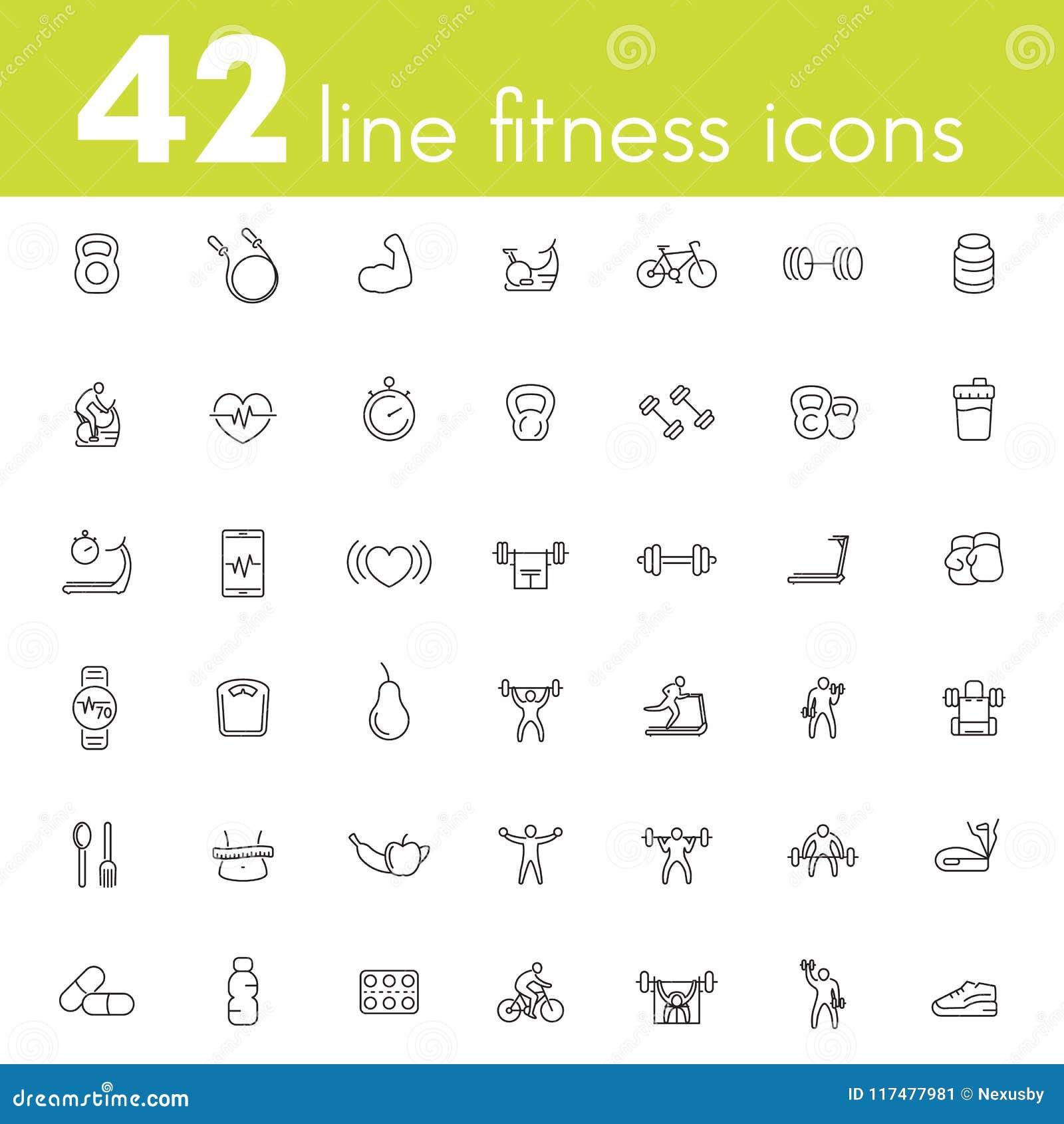 Sprawność fizyczna, trening, gym ikony pakuje, liniowy