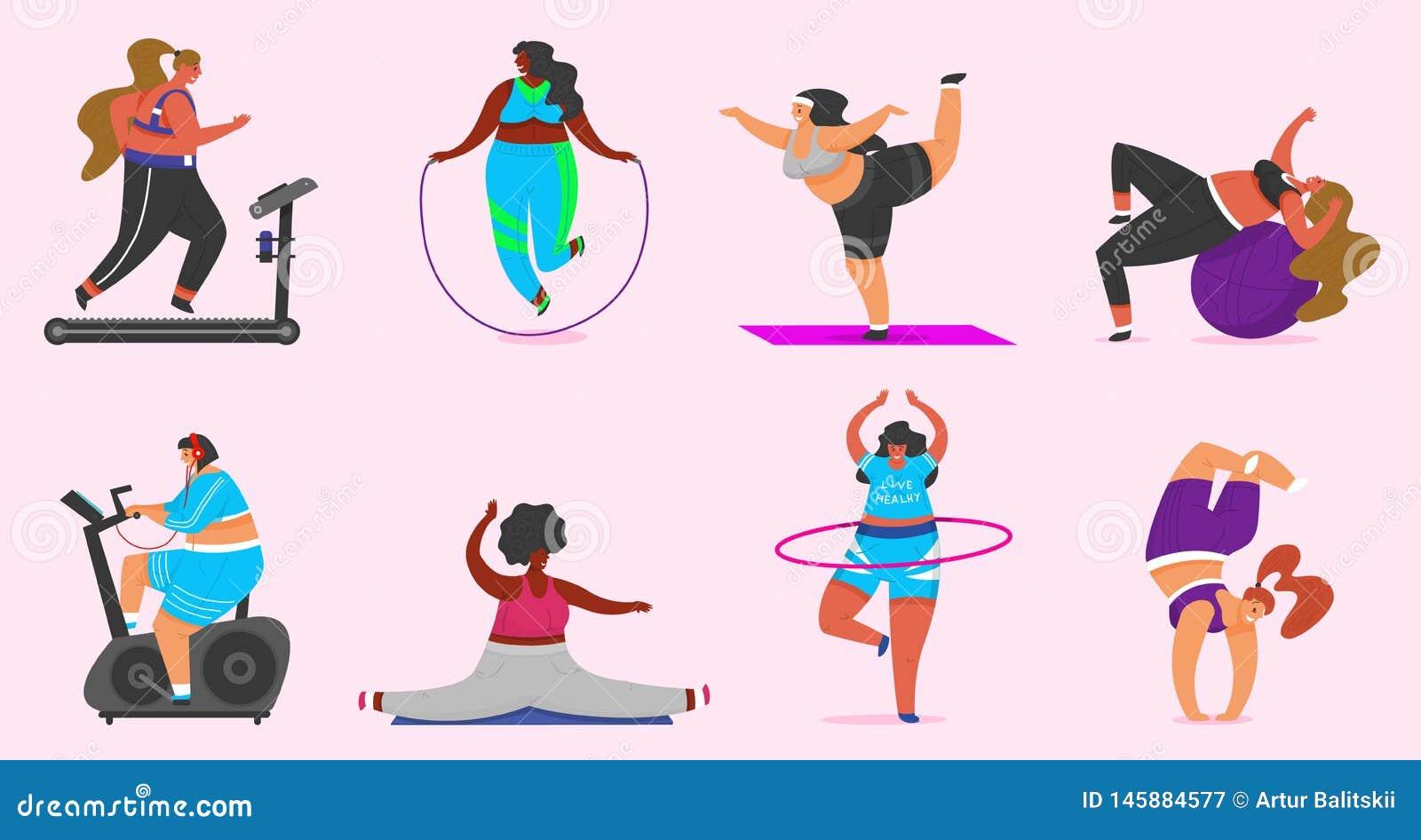 Sprawności fizycznych dziewczyny Plus rozmiar Zdrowie sport w klubie Set robi ćwiczeniom Gruba kobieta, gubi ciężar, biega na sym
