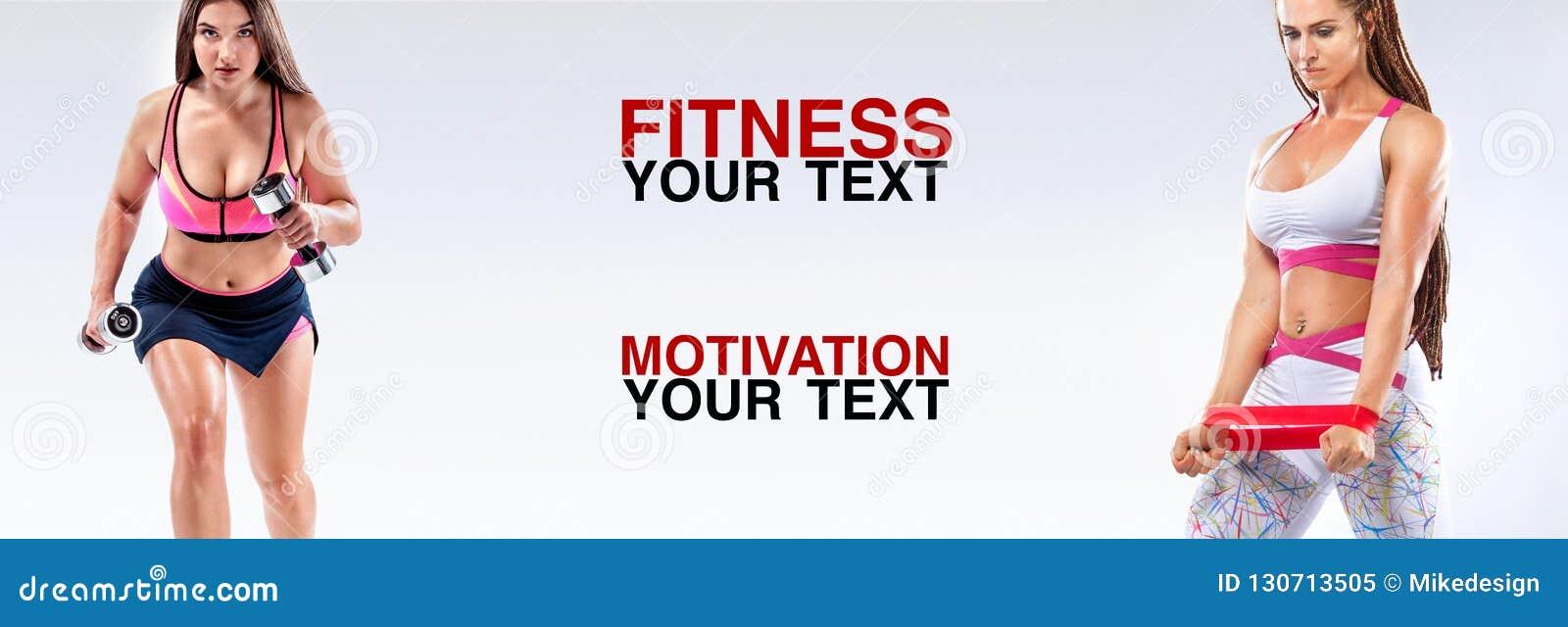 Sprawności fizycznych kobiet atleta z dumbbells i zespoły Szablon, sztandar lub plakat dla sport reklam, Biały tło