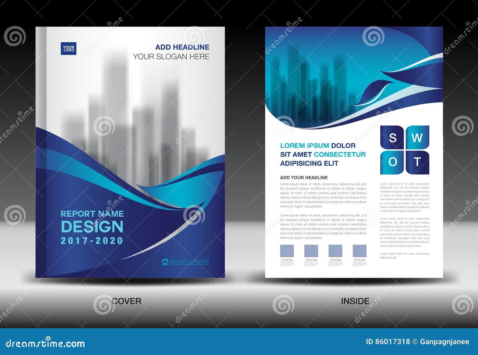 Sprawozdanie roczne broszurki ulotki szablon, błękit pokrywy projekt
