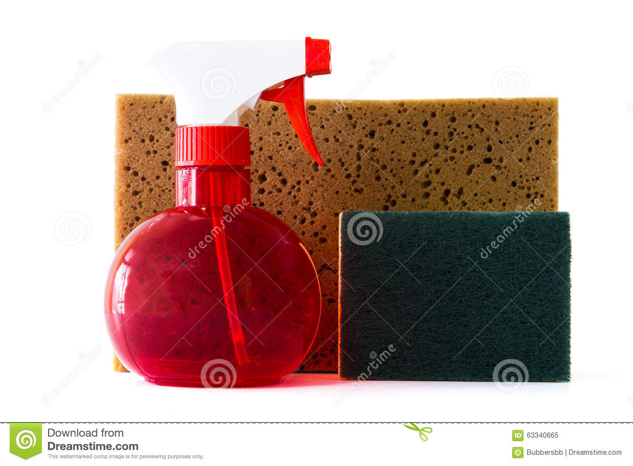 Spray Bottle Scrubber Sponges For Cleaning Stock Photo