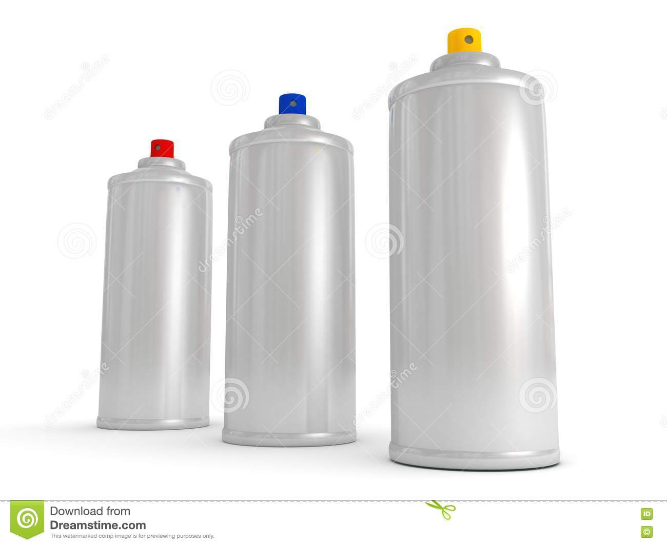 Spray Cans With Differently Colored Paint Stock Images