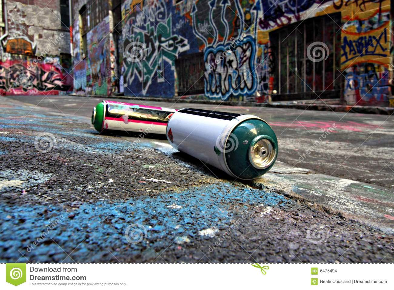 Spray Cans In A Graffiti Alley In Melbourne Stock Images ...