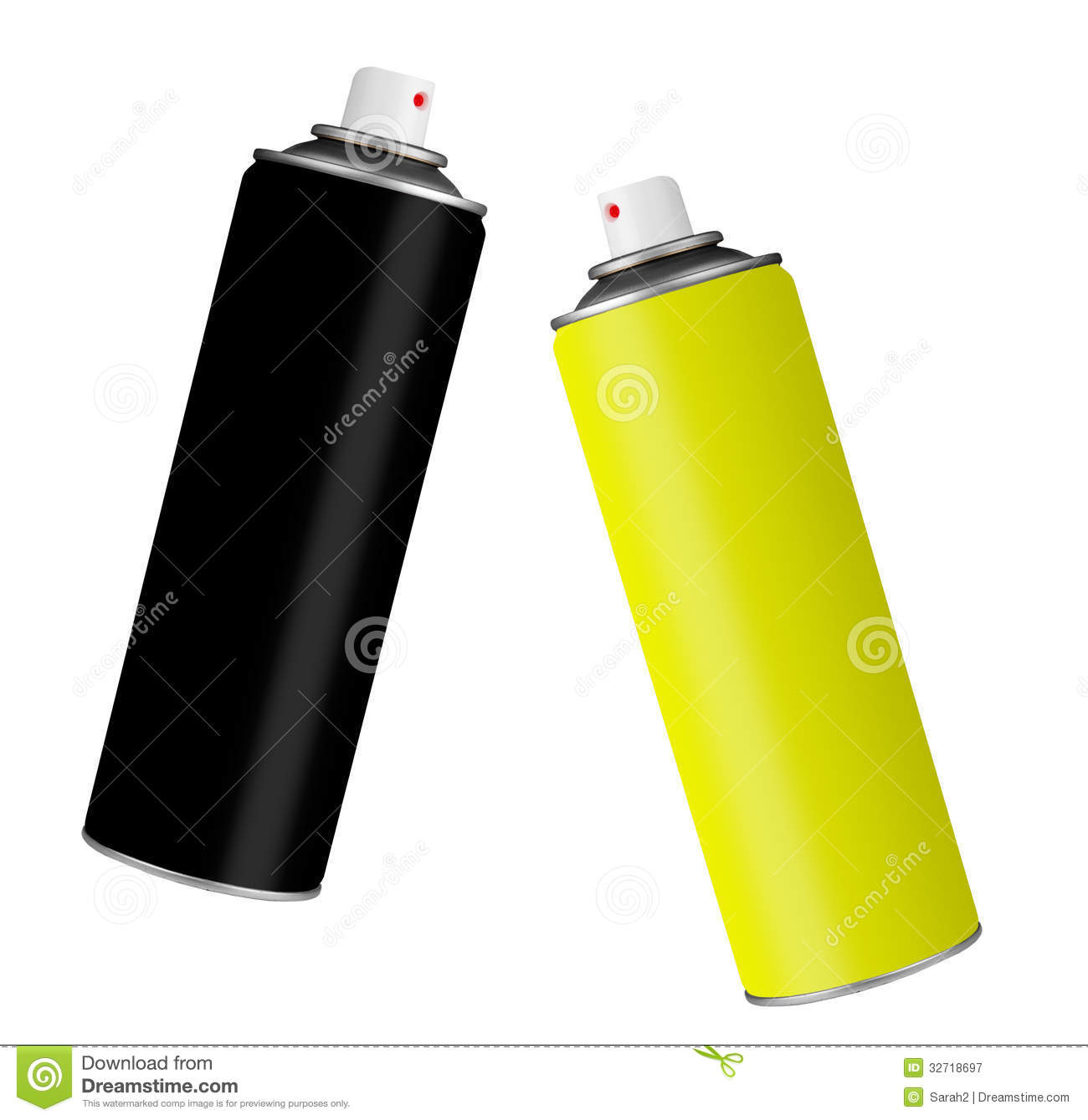 Spray paint cans black and yellow isolated over white for White paint going yellow