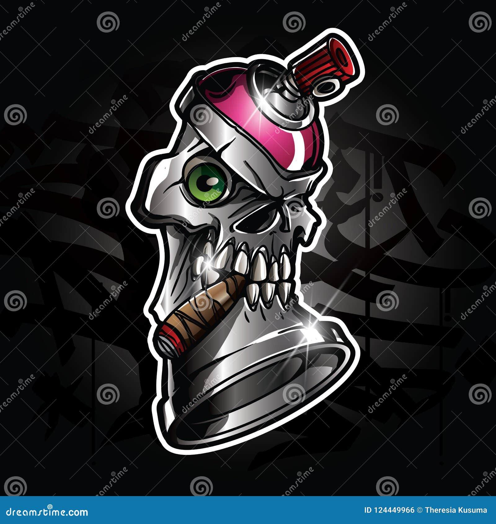 Spray Paint Monster Cartoon Character Stock Vector Illustration Of