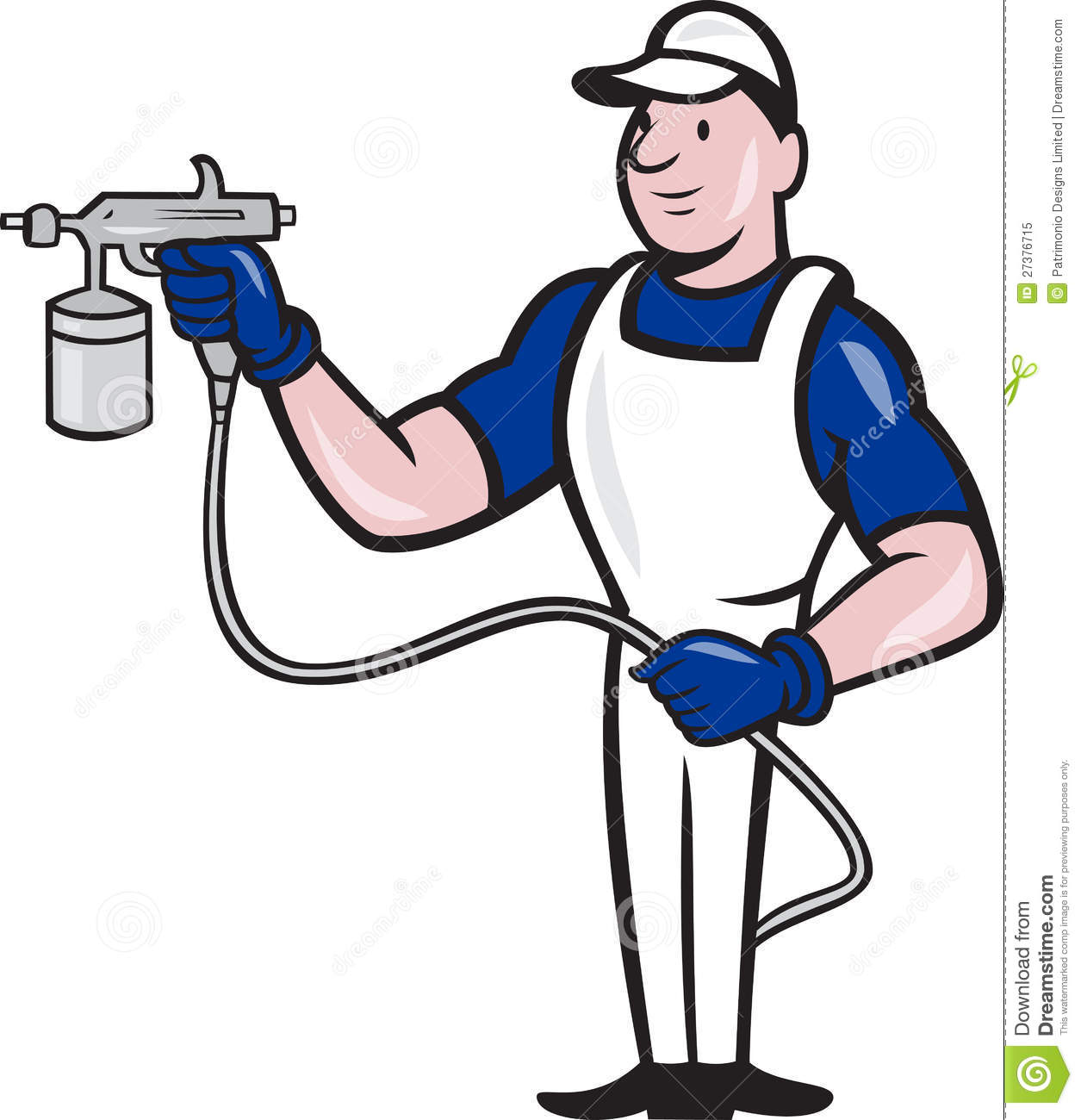 Spray Painter Spraying Gun Cartoon Stock Vector
