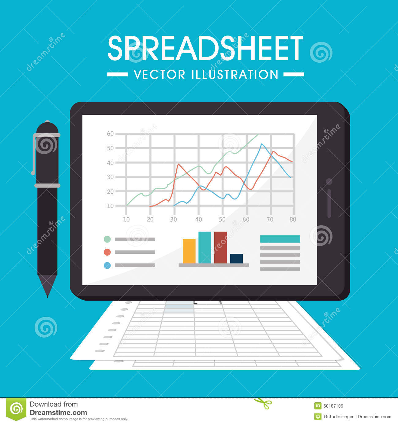 Vector Drawing Lines Excel : Spreadsheet design vector illustration stock