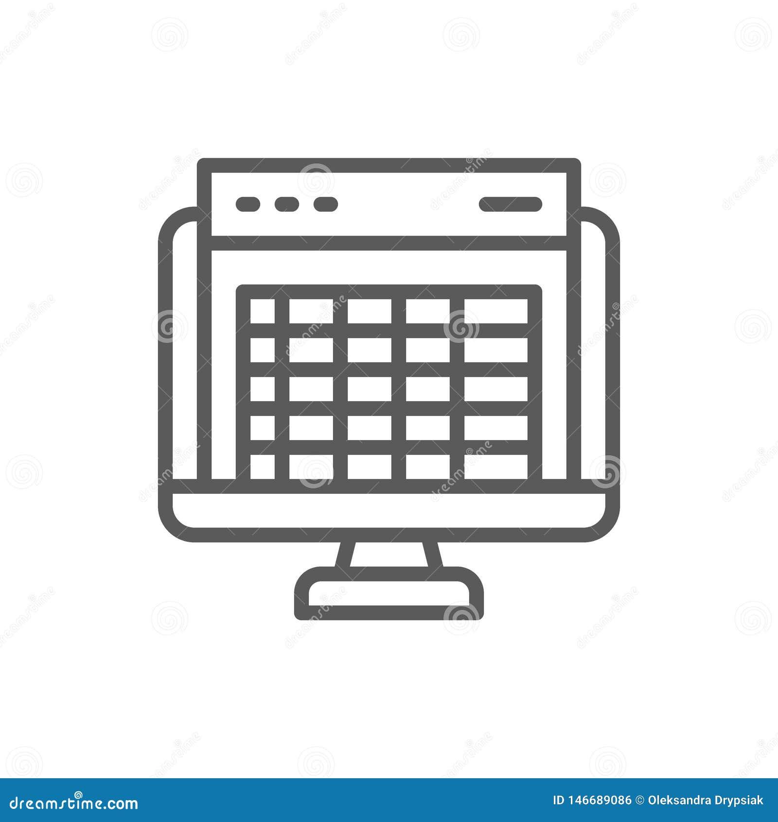 Spreadsheet, ekran komputerowy, pieniężnej księgowości raportu linii ikona