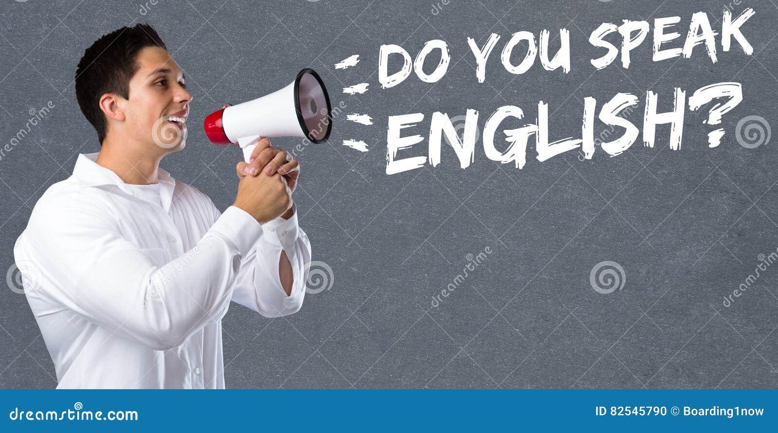 Sprechen Sie Fremdsprachelernen- Schuljungen Mann Englisch