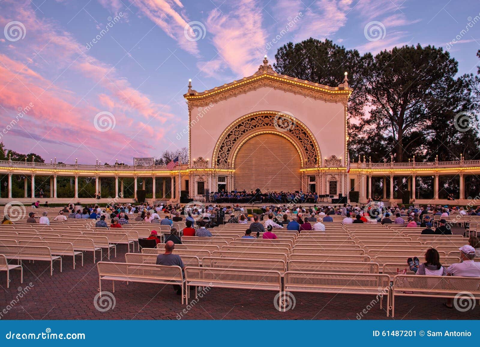 spreckels organ pavilion at sunset balboa park san diego california editorial photo image. Black Bedroom Furniture Sets. Home Design Ideas