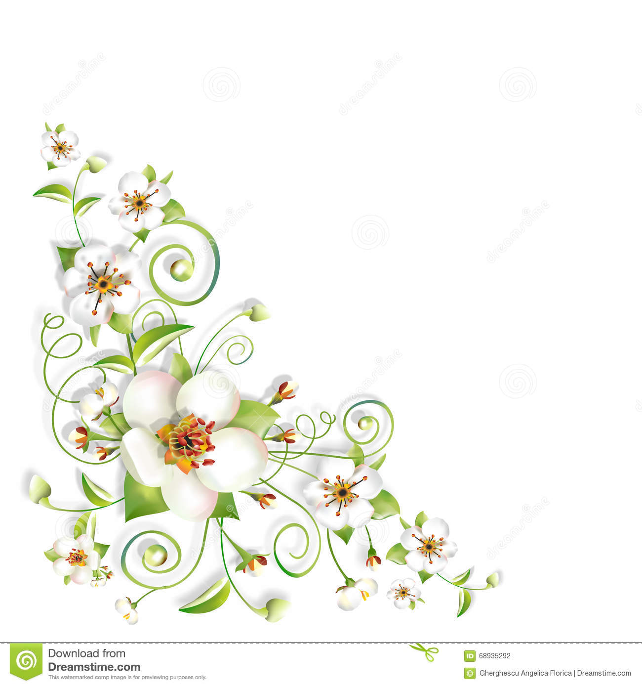 Sprig Flowers Background Corner Stock Photo - Illustration of black ... for Vector Flower Background Png  575cpg