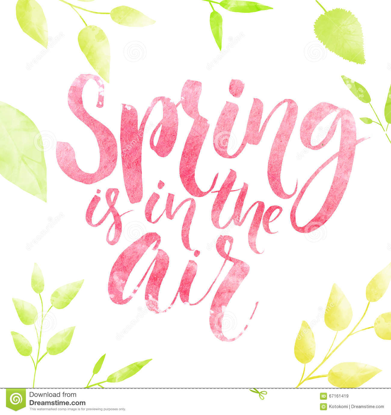 spring is in the air watercolor lettering in green leaves
