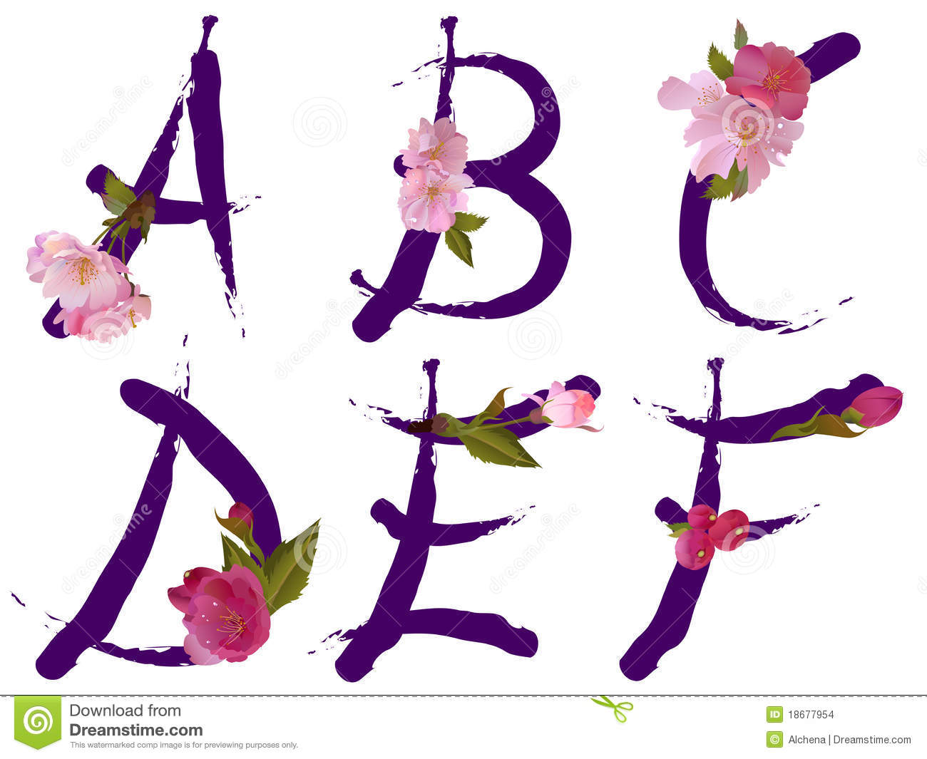 Spring alphabet with flowers letters a b c d e f stock - Alphabet complet ...