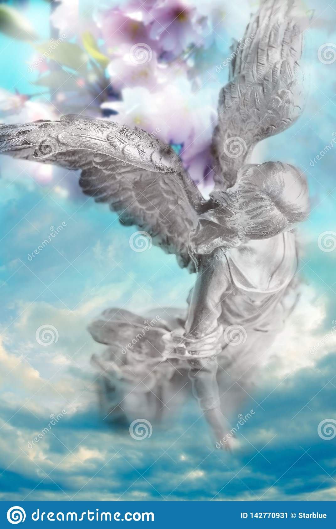 Spring angel archangel of nature with flower background like divine nature concept
