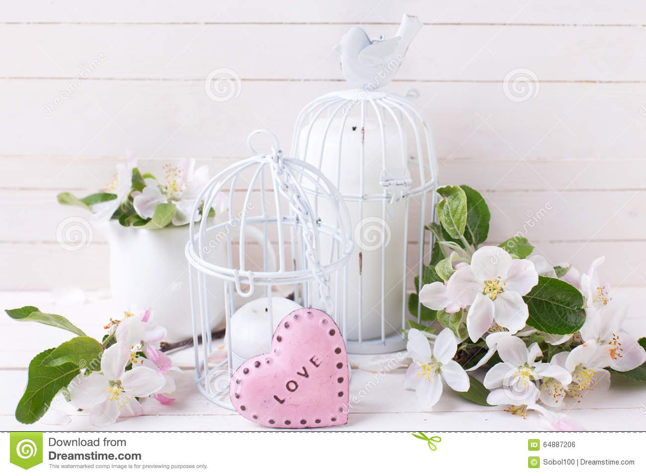 Spring Apple Blossom, Candles In Decorative Bird Cages And