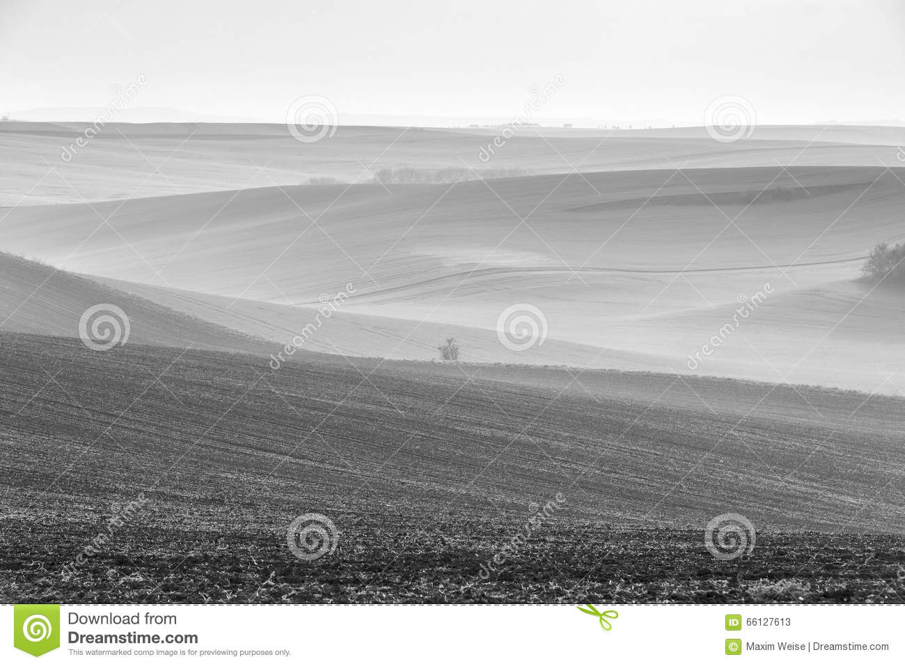 Spring. April. Moravia fields in a cloudy day