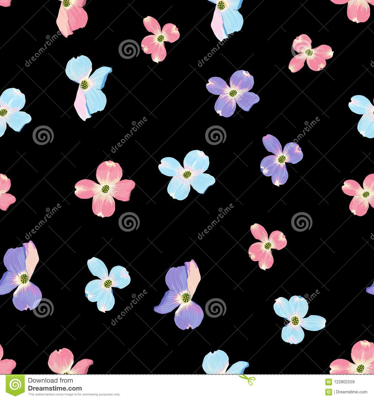 Spring Autumn Violet Blue Pink Flowers Seamless Pattern Watercolor