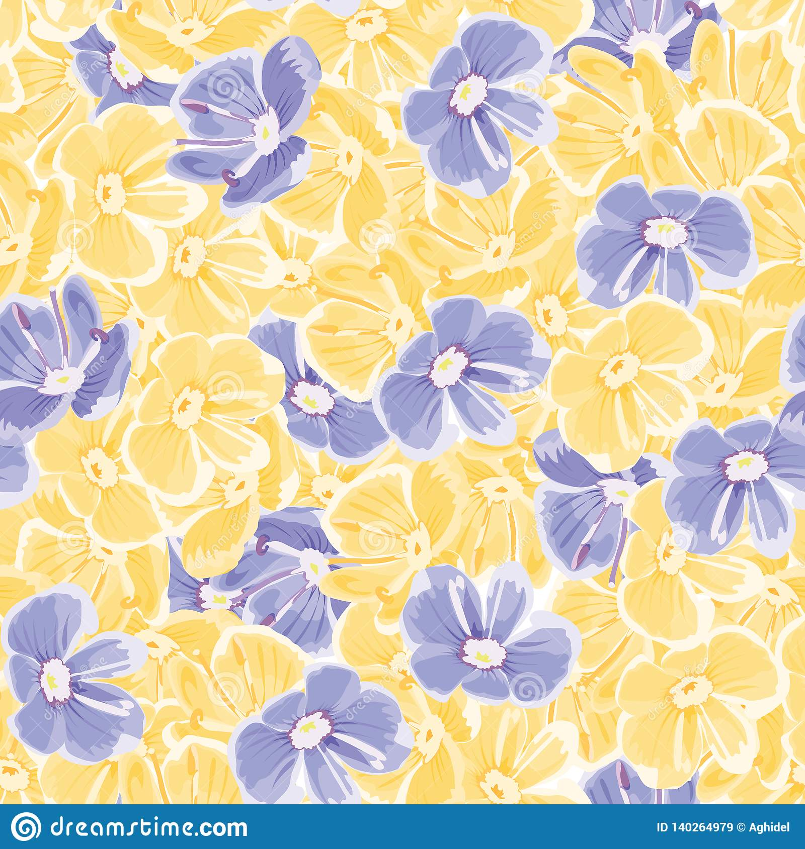 Spring background. blue and yellow flowers. vector seamless pattern. floral backdrop. textile paint. repetitive background