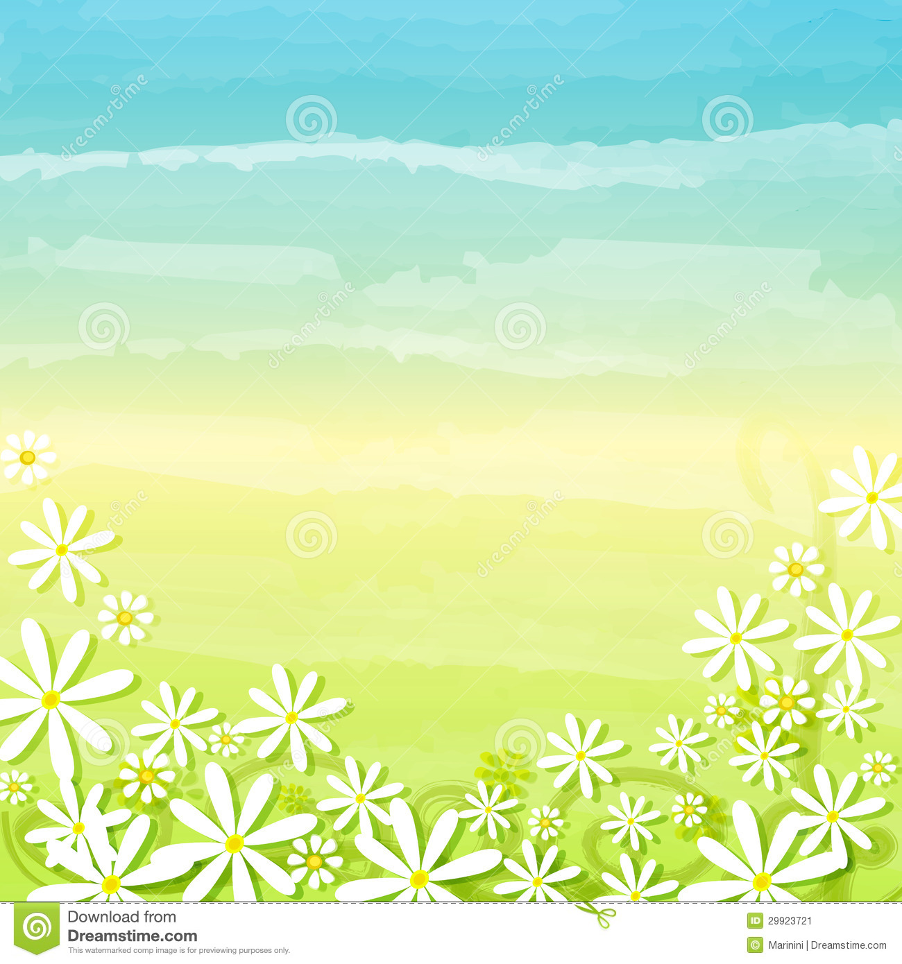 Spring Flowers In Blue Green Background Stock Image