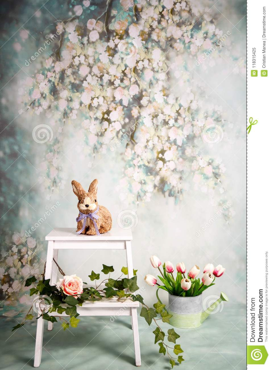 Spring background with pink and white flowers, romantic style