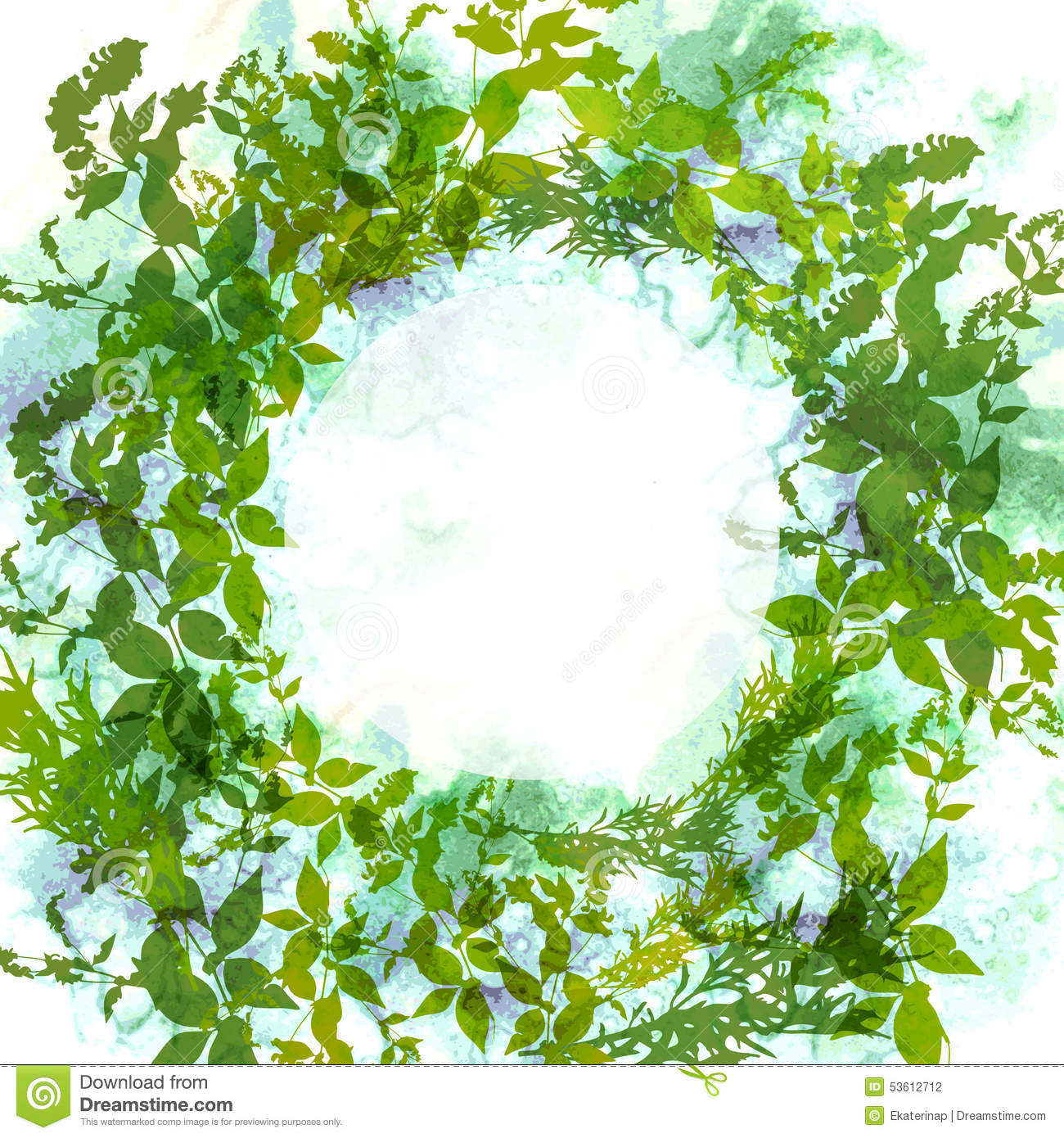 Spring Green Leaves And Flowers Background With Plants: Spring Background, Wreath With Green Leaves, Watercolor
