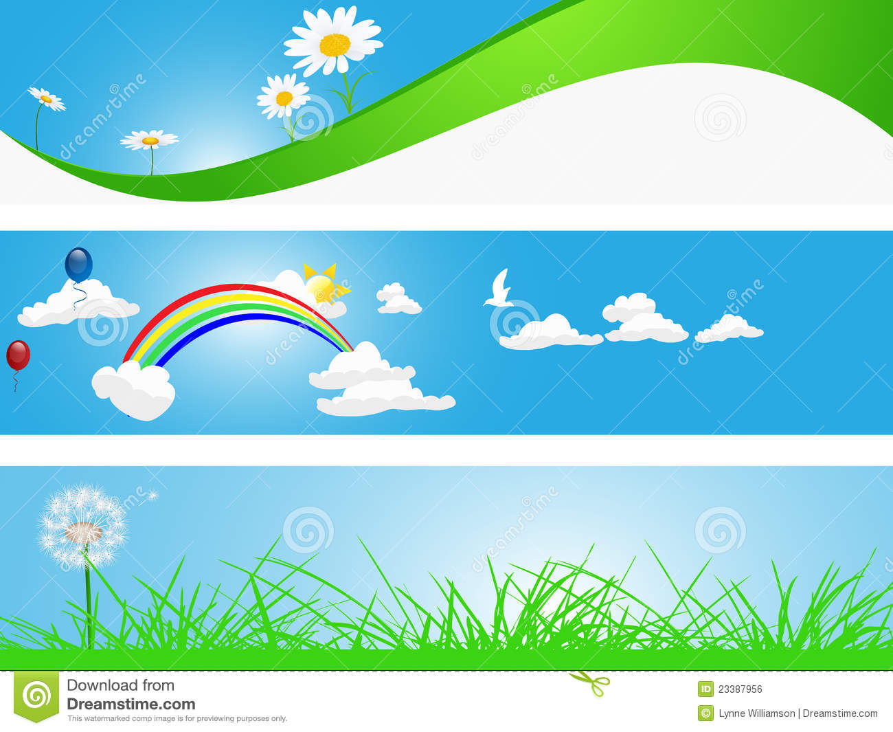 Spring Banners stock vector. Illustration of field ...