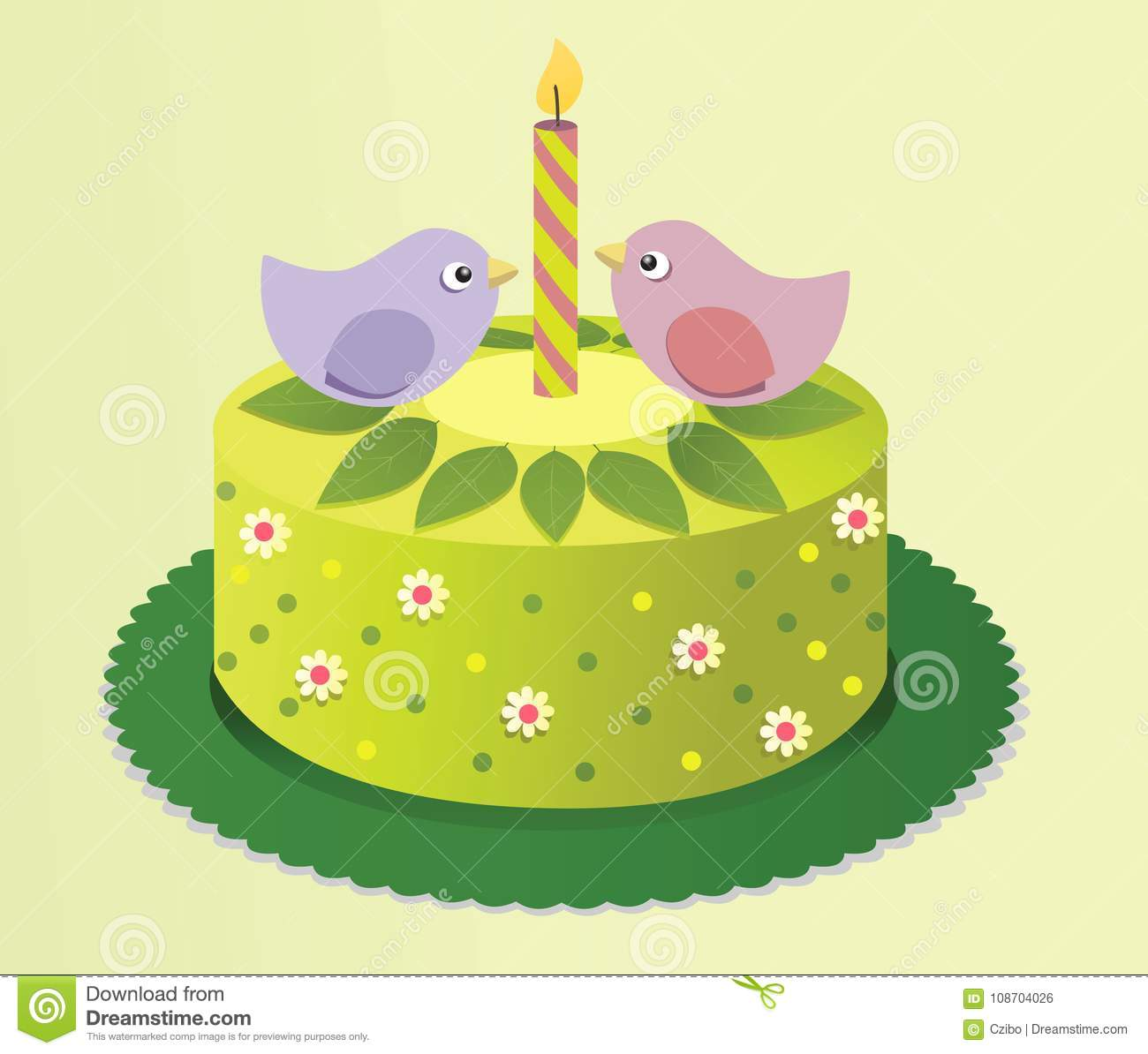 Spring Birthday Cake With Sweet Birds Stock Vector Illustration Of