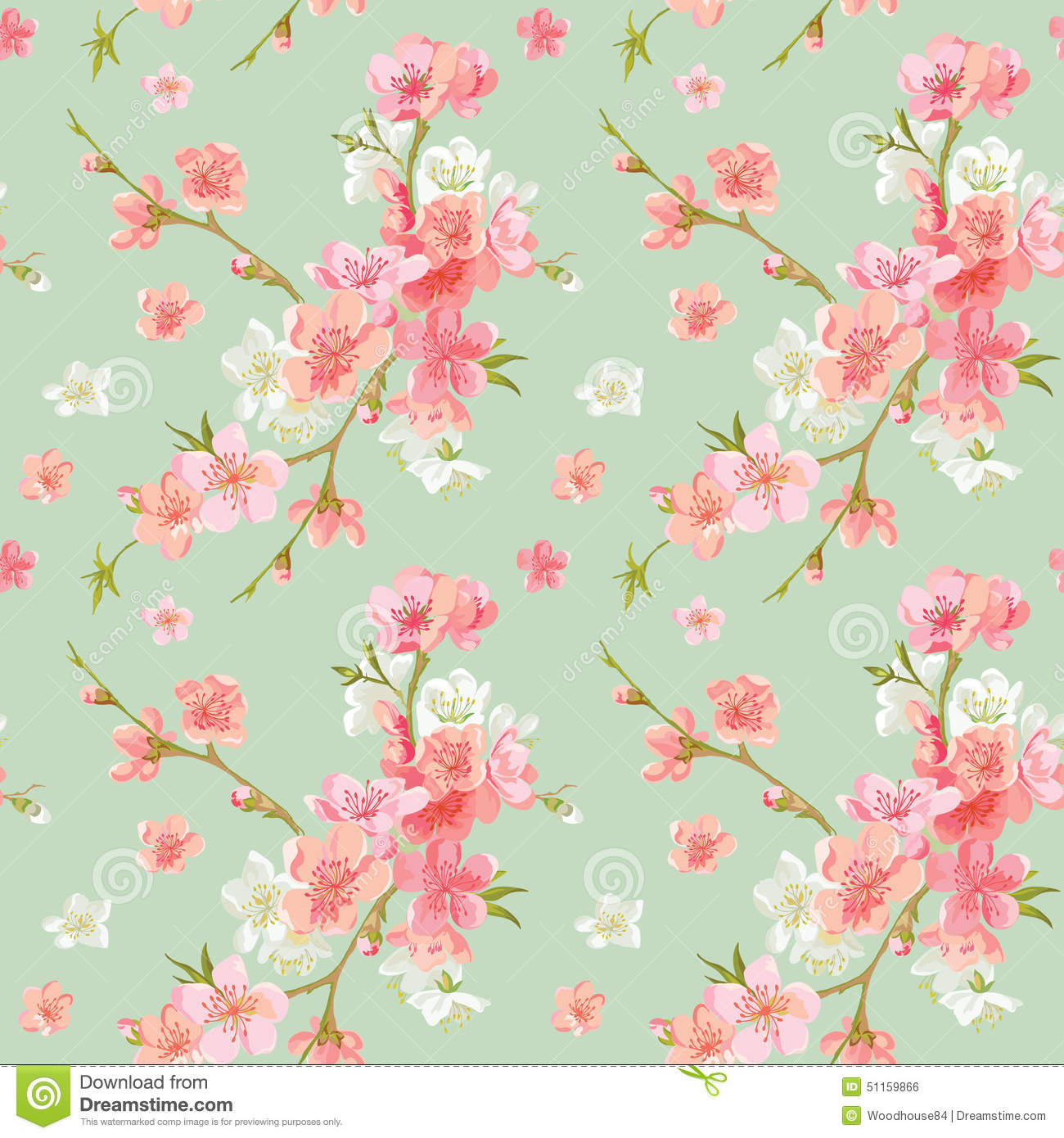 Spring Blossom Flowers Background Stock Vector
