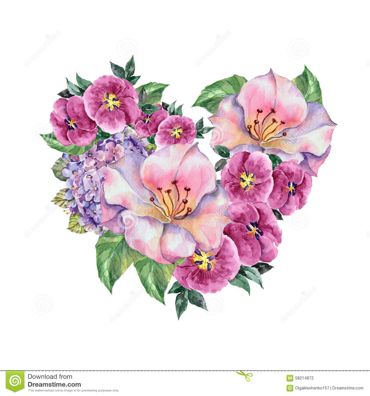Spring Bouquet Lilac Flowers Watercolor Pattern Stock