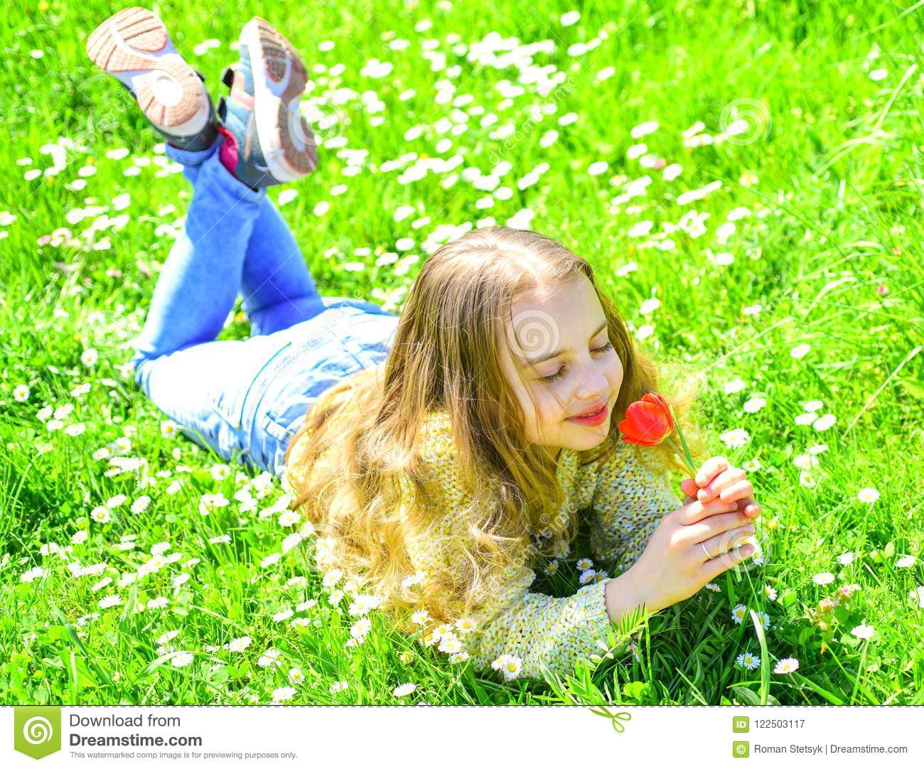 Spring Break Concept Child Enjoy Spring Sunny Day While Lying At