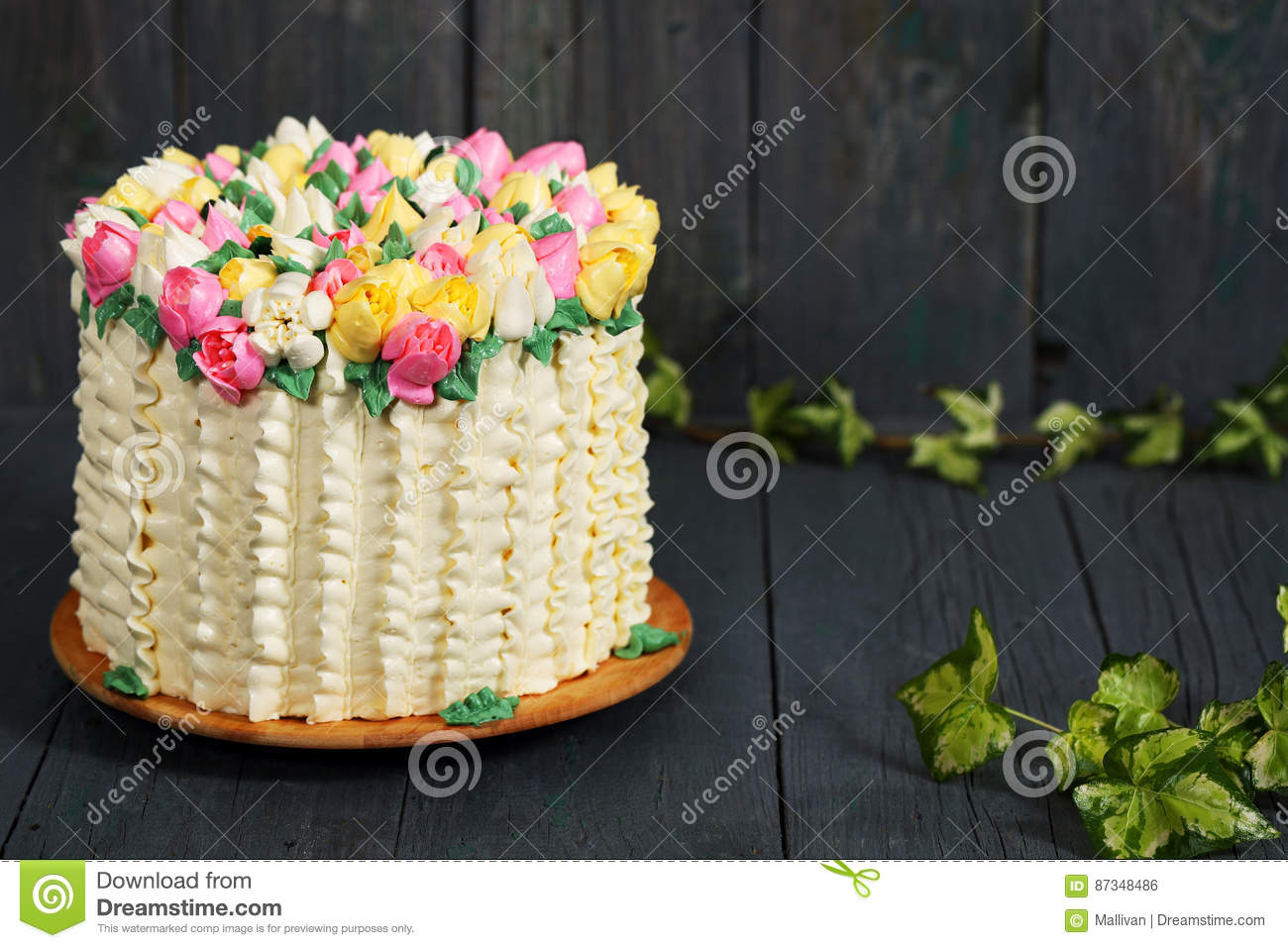 Spring Cake Rustic Stock Photo Image Of Professional 87348486