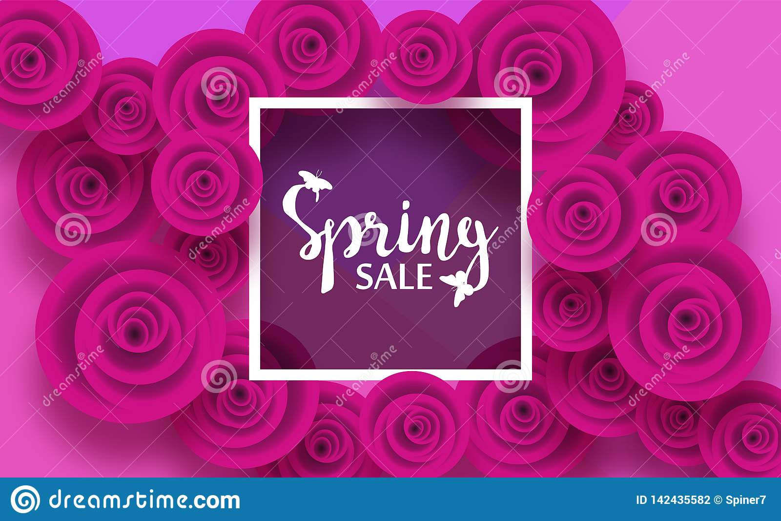 Spring Card With Flowers Purple Rose And Shadows, For ...