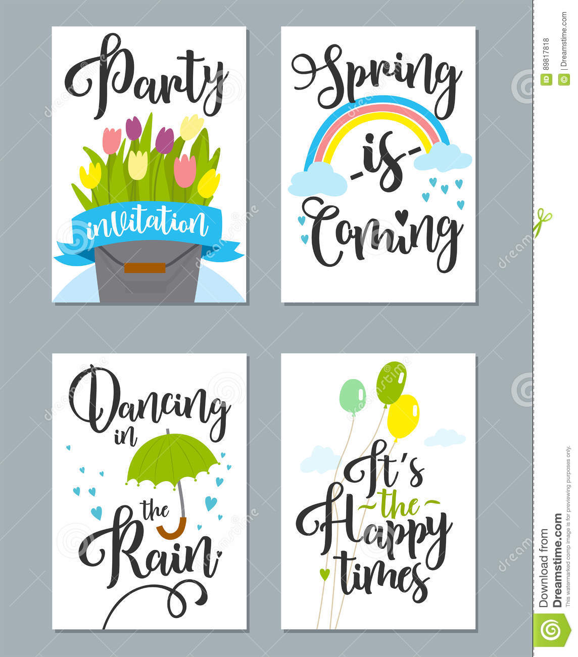Spring Card Set With Spring Quotes Calligraphy Flowers Stock