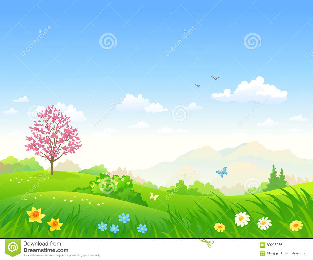 Spring Cartoon Landscape Stock Vector Illustration Of Horizon
