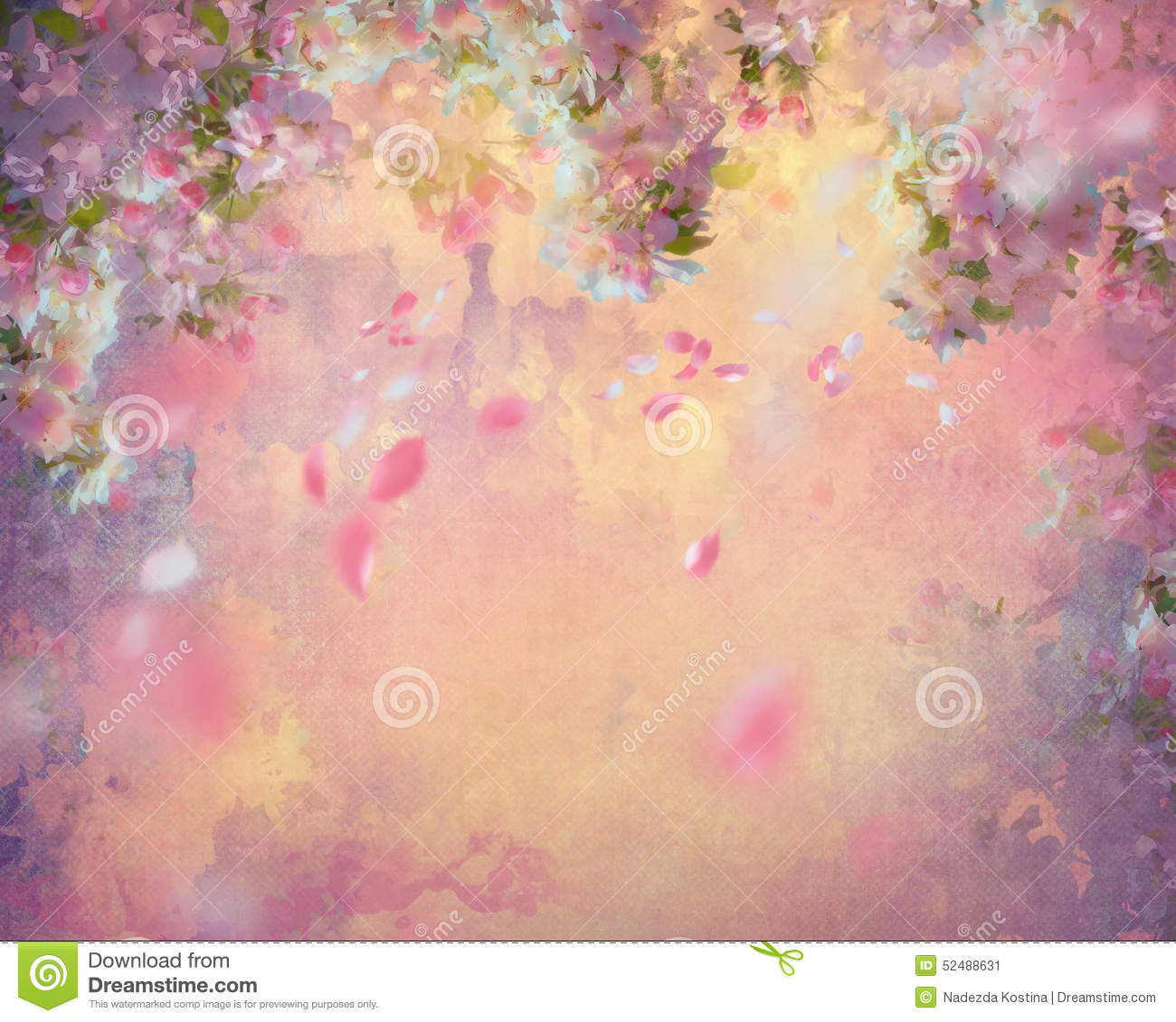 Spring cherry blossom with flying petals on canvas vintage background ...
