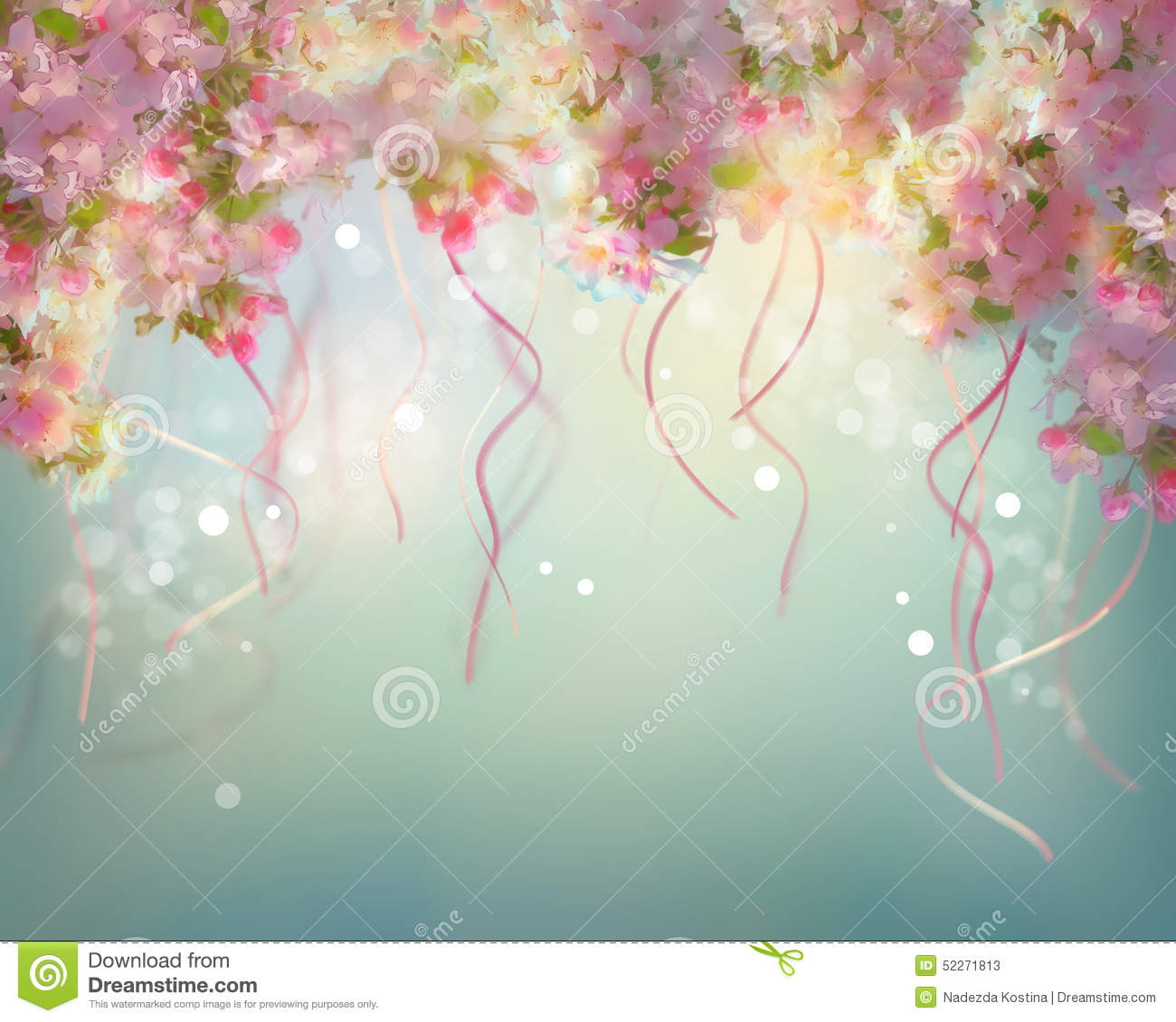 Spring Cherry Blossom Wedding Background Stock Illustration - Image ...