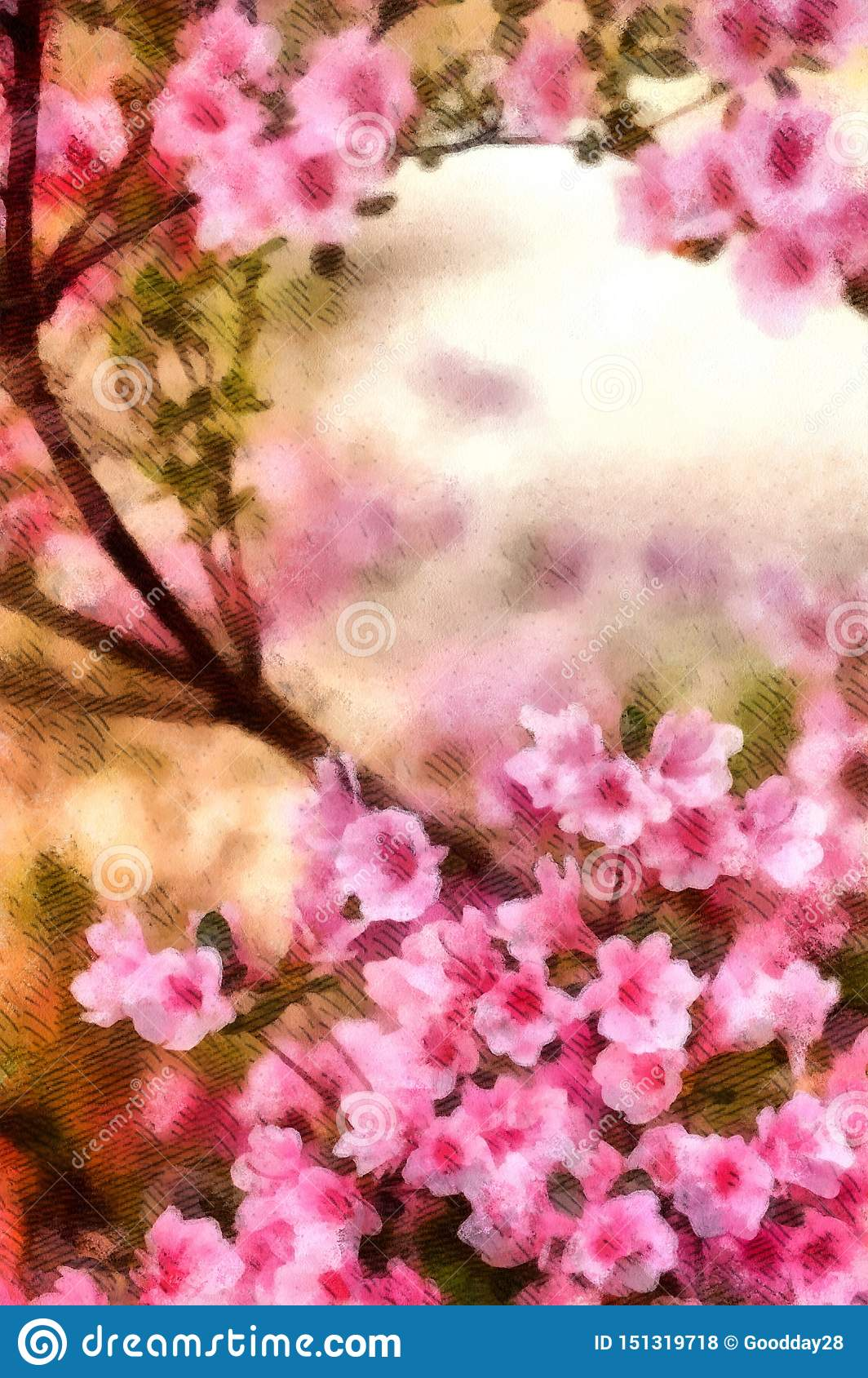 Spring Cherry Blossoms Pink Flowers Watercolor Painting
