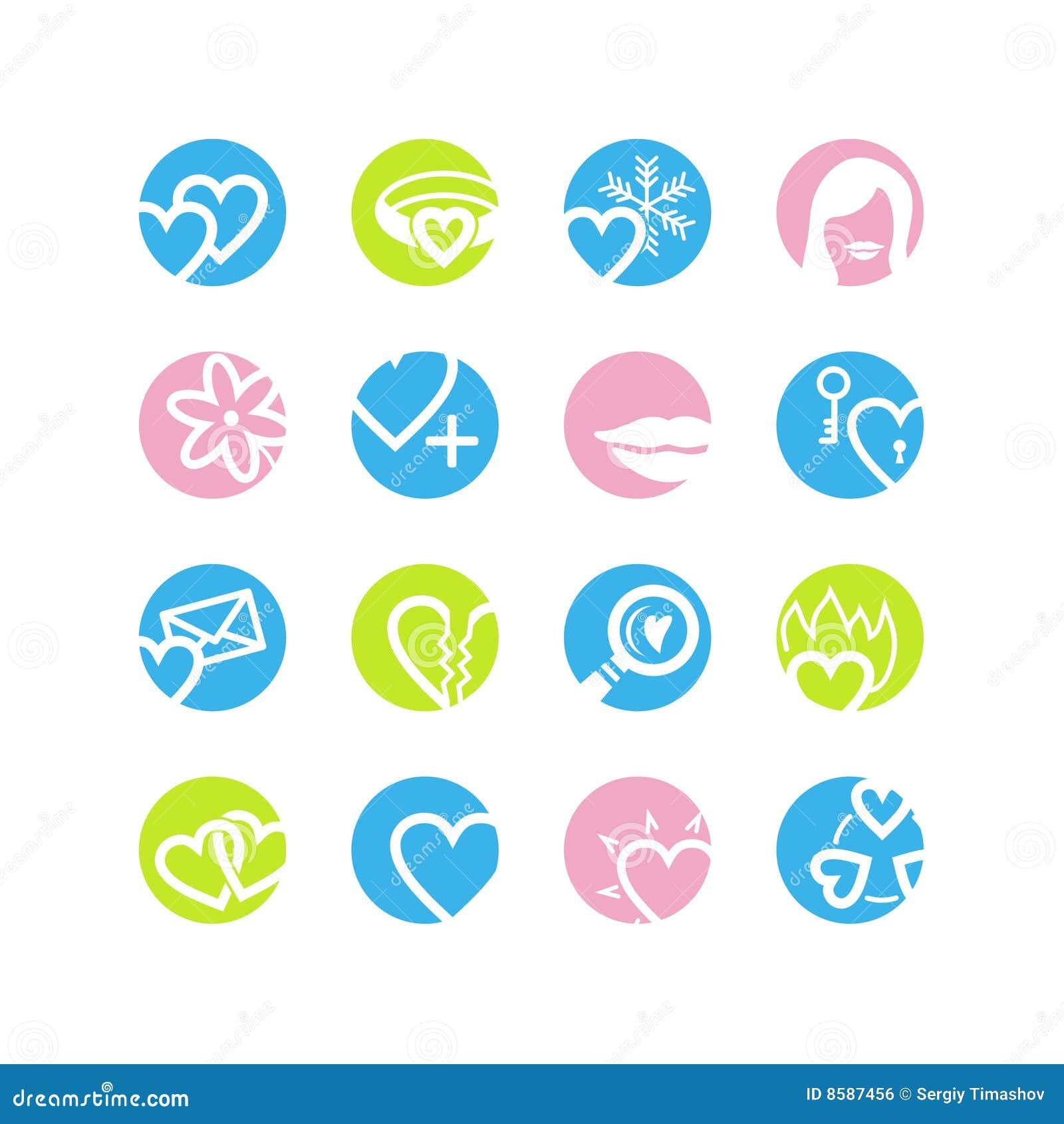 Spring circle love icons