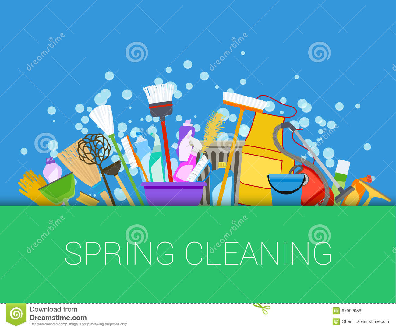 Spring Cleaning Background Set Of Cleaning Supplies Stock