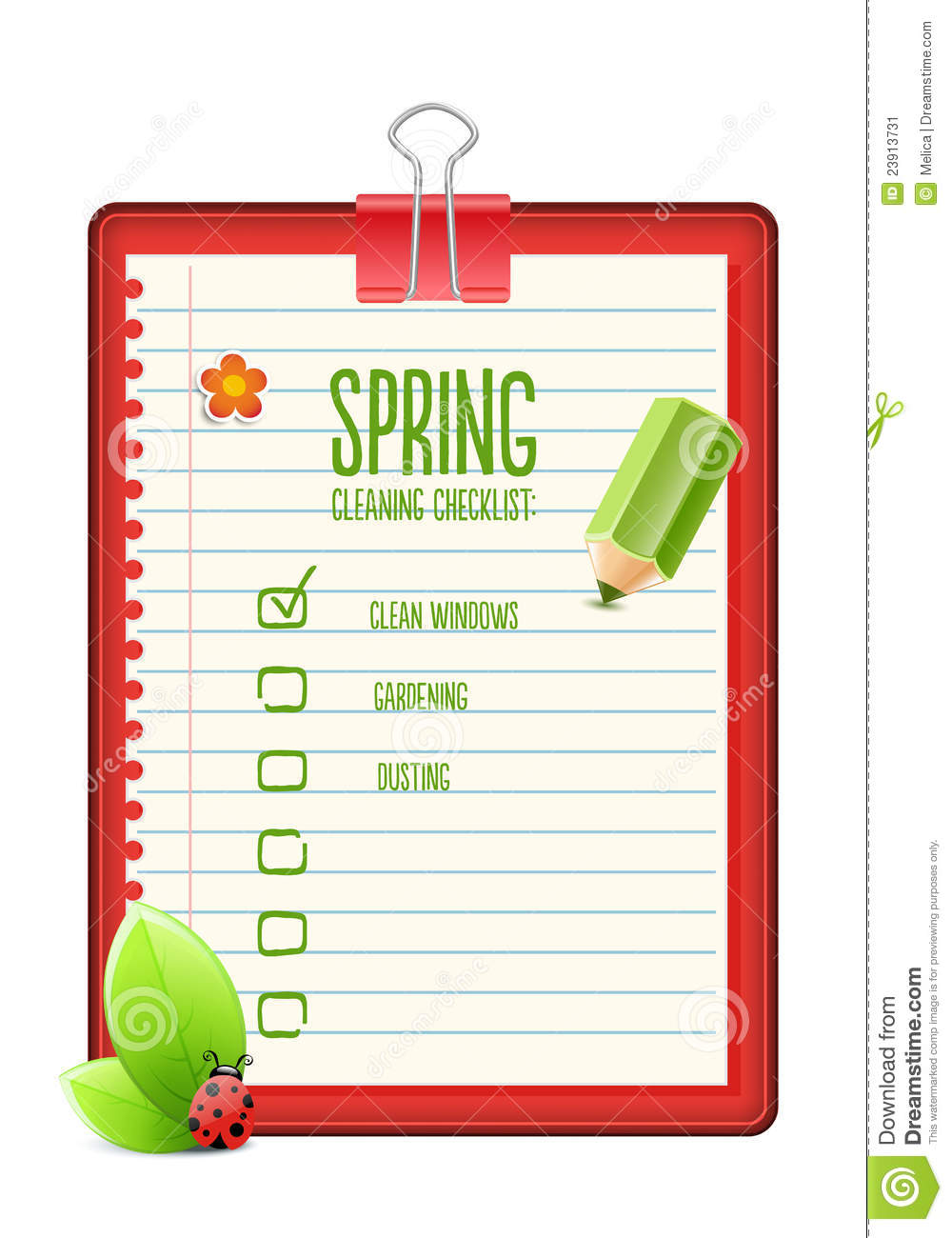 spring cleaning checklist stock vector illustration of marks 23913731