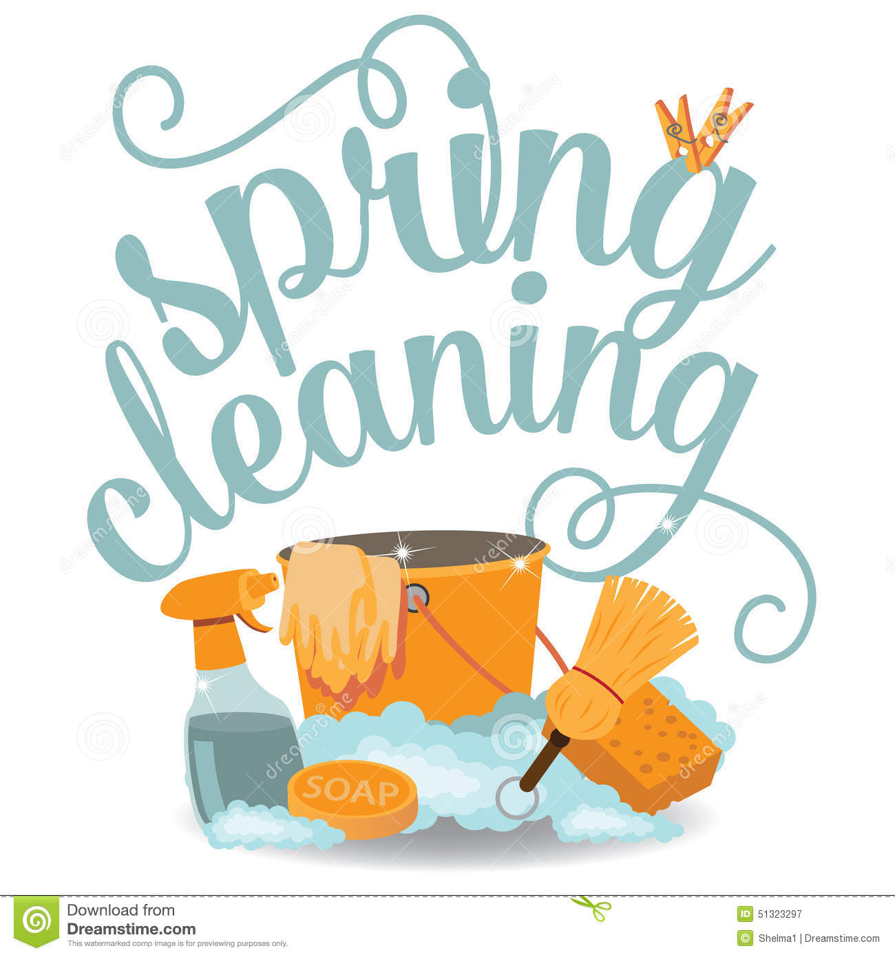 Spring Cleaning cheerful flat design EPS 10 vector