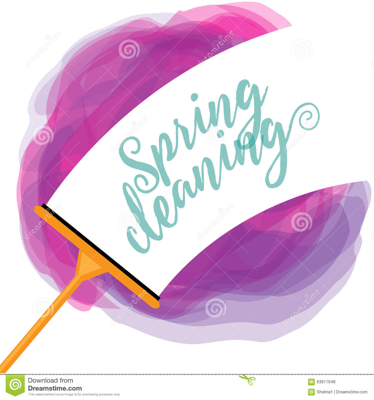 Spring Cleaning cheerful watercolor squeegee design
