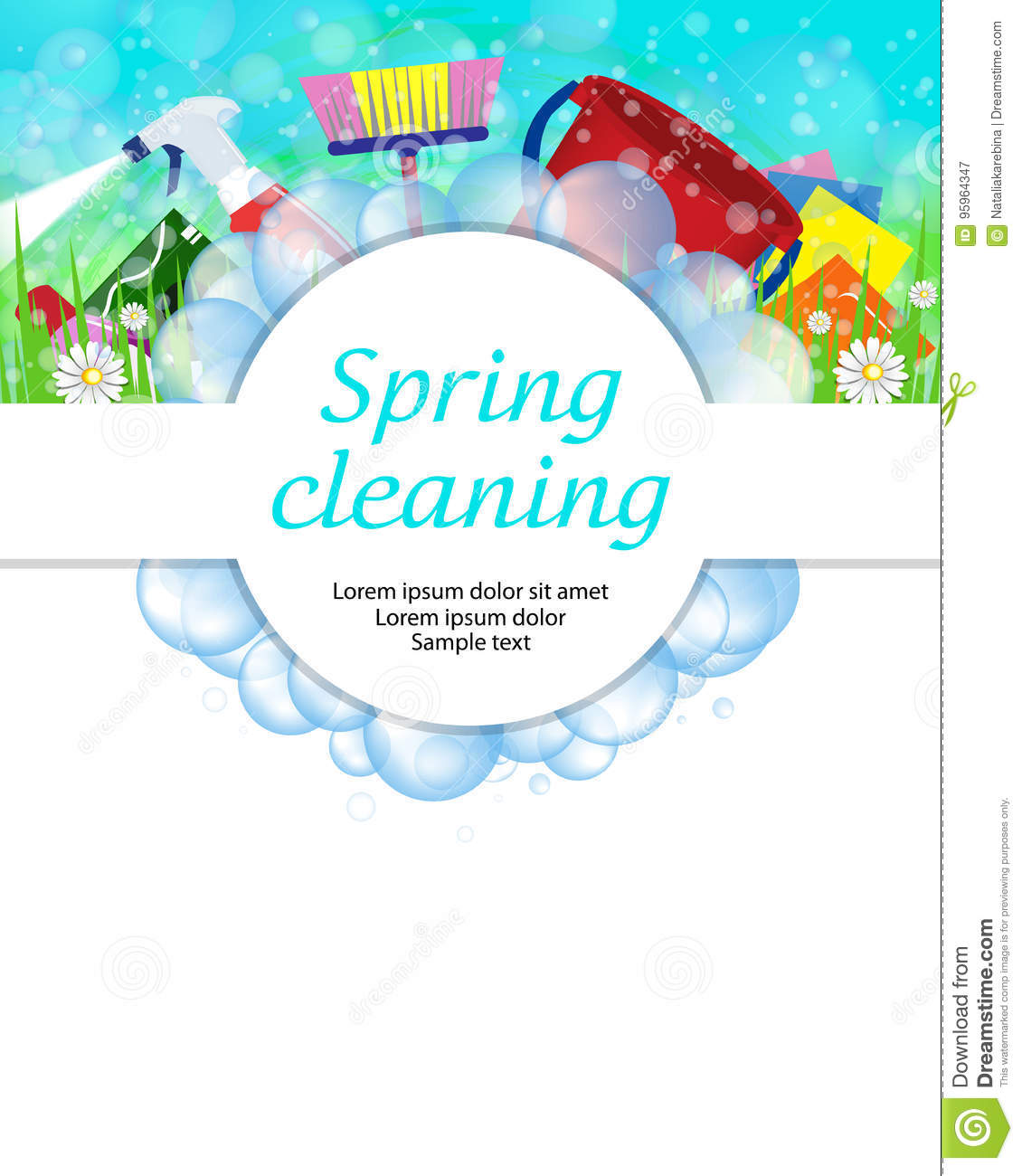 Spring cleaning service concept. Tools for cleanliness and disinfection. Soap bubbles frame. Vector