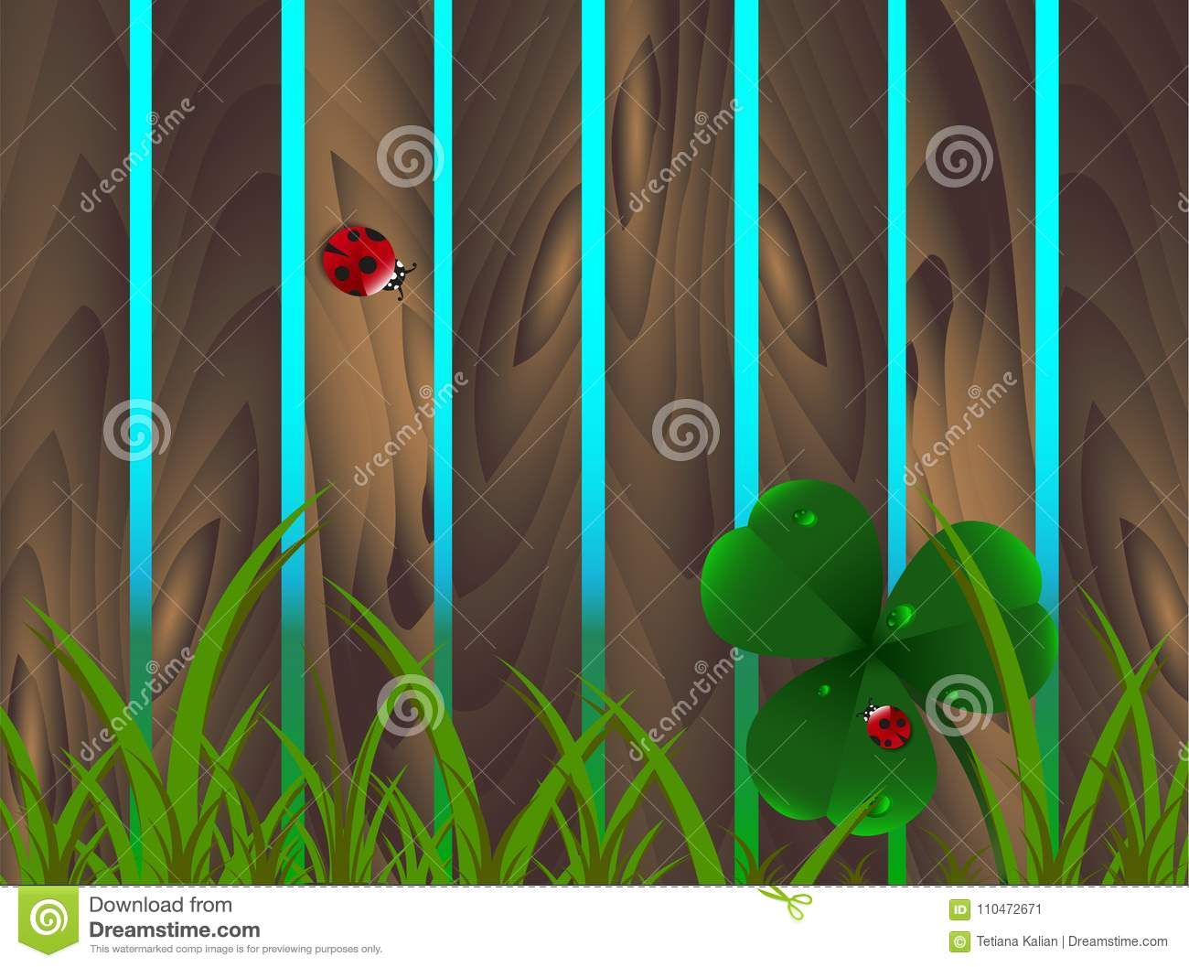 Spring Clover, Ladybugs, Grass On Wooden Brown Garden Fence ...